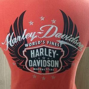 Harley Davidson Rhinestone Henley Tee